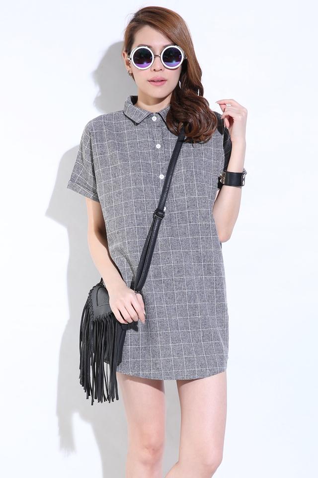 SG IN STOCK- ADALINE SHIFT DRESS IN GREY