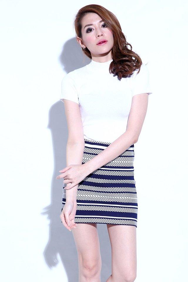 BACKORDER- Nara Printed Knit Skirt in Navy
