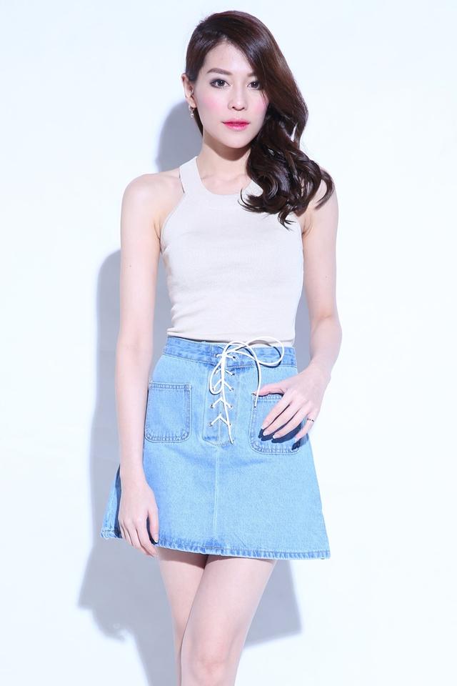 (BACKORDER) Peyton Shoelace Denim Skirt