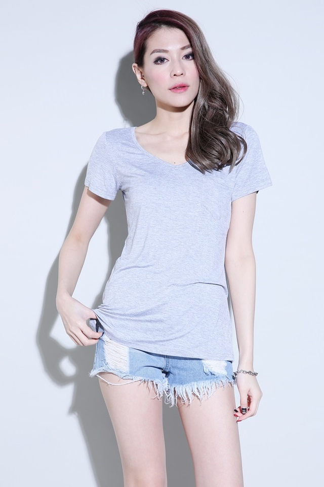 IN STOCK -Pocket T (V Neck) in Grey