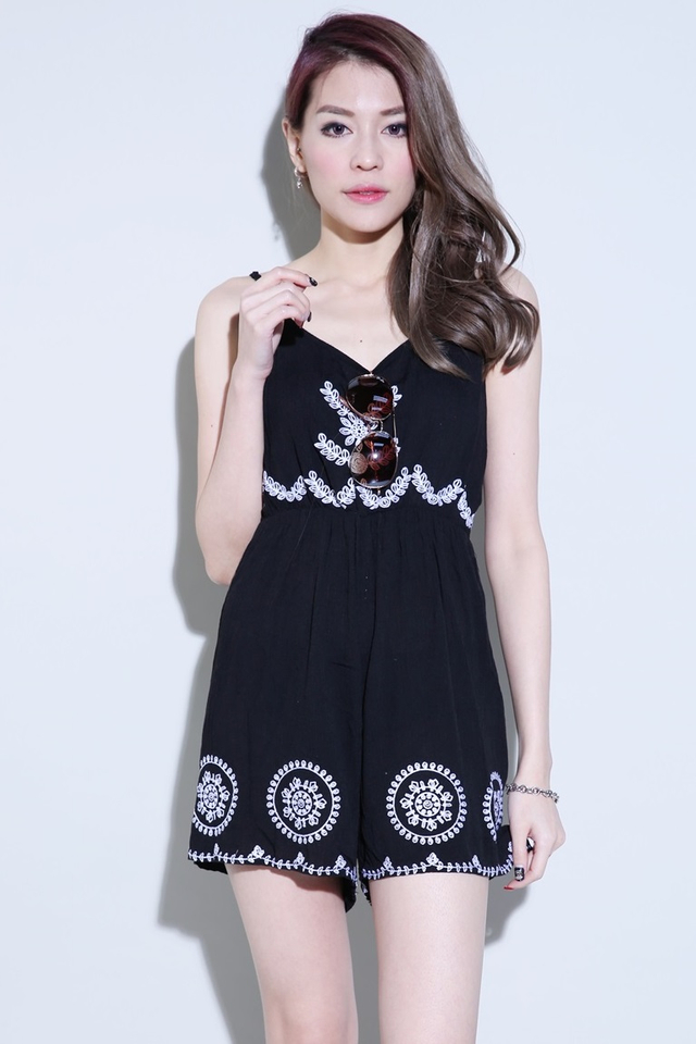 BACKORDER - SILAS EMBROIDERY ROMPER IN BLACK