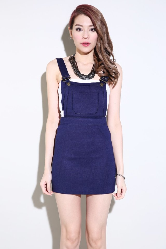 BACKORDER- ANOCK BODYCON PINAFORE IN BLUE