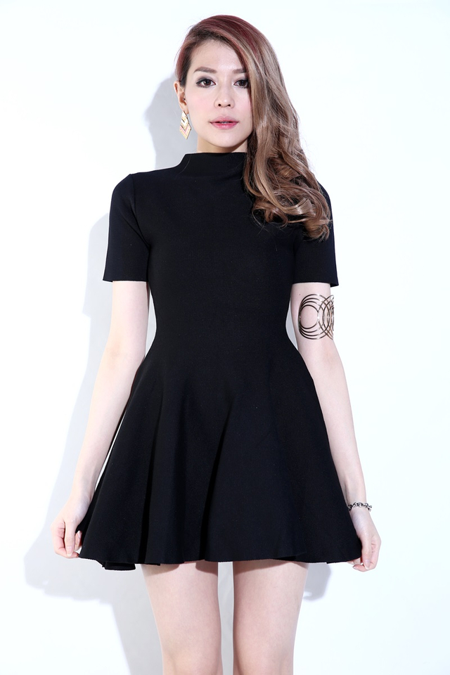 IN STOCK - NORA SKATER KNIT DRESS IN BLACK
