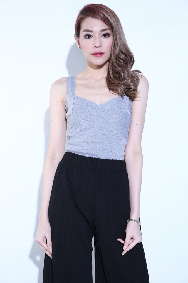 BACKORDER- WADE KNIT BADYCON TOP IN GREY