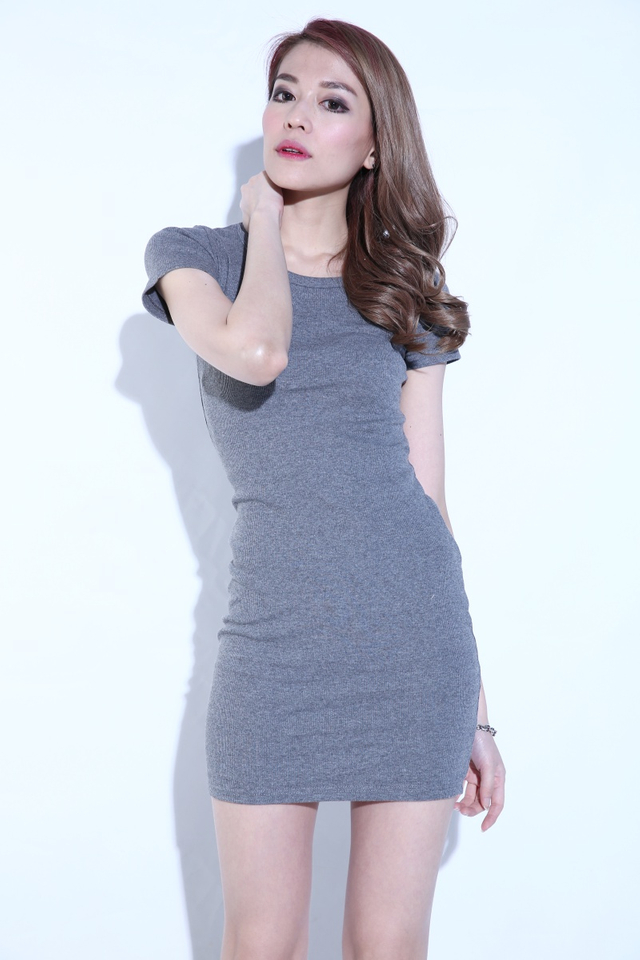 BACKORDER- Melove Basic Dress in Grey