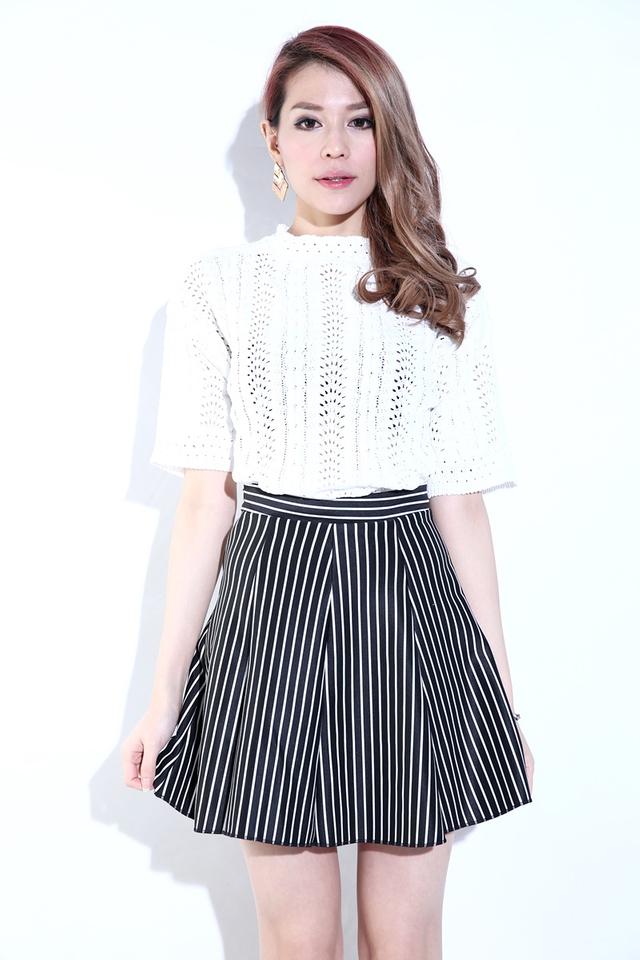 BACKORDER - Ida Stripes Skirt in Black