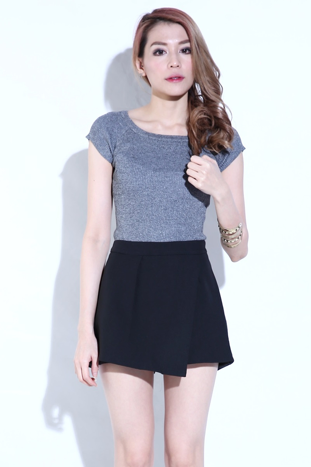 SG IN STOCK-Abeer Two Way Knit Top in Grey