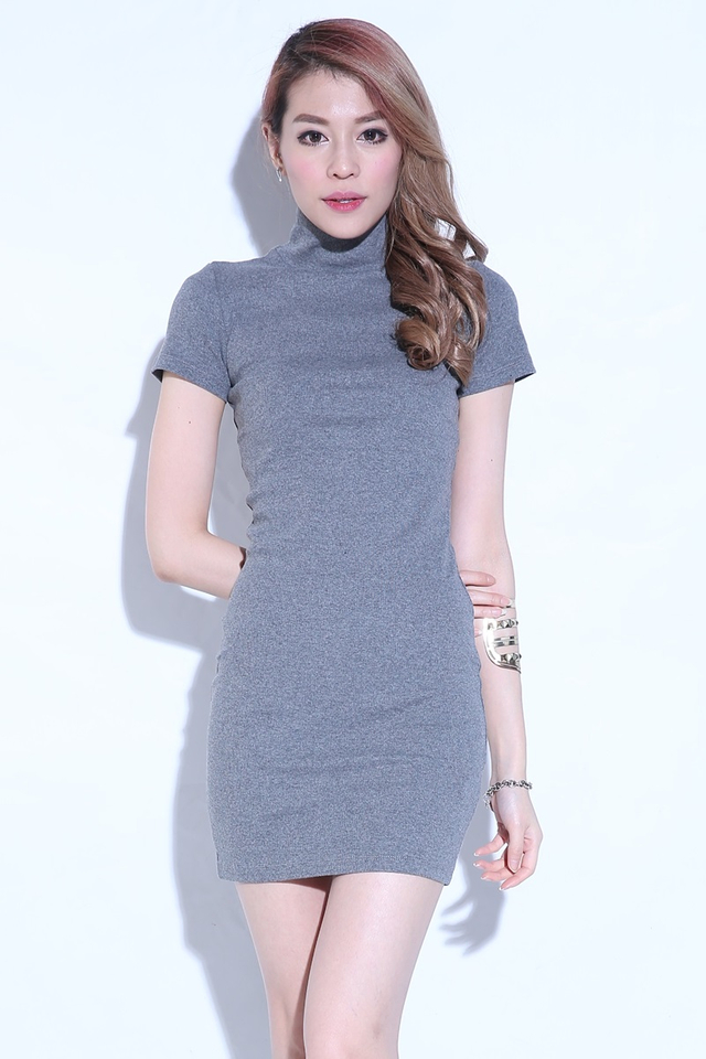 IN STOCK - SASHA KNIT SHIFT DRESS IN GREY