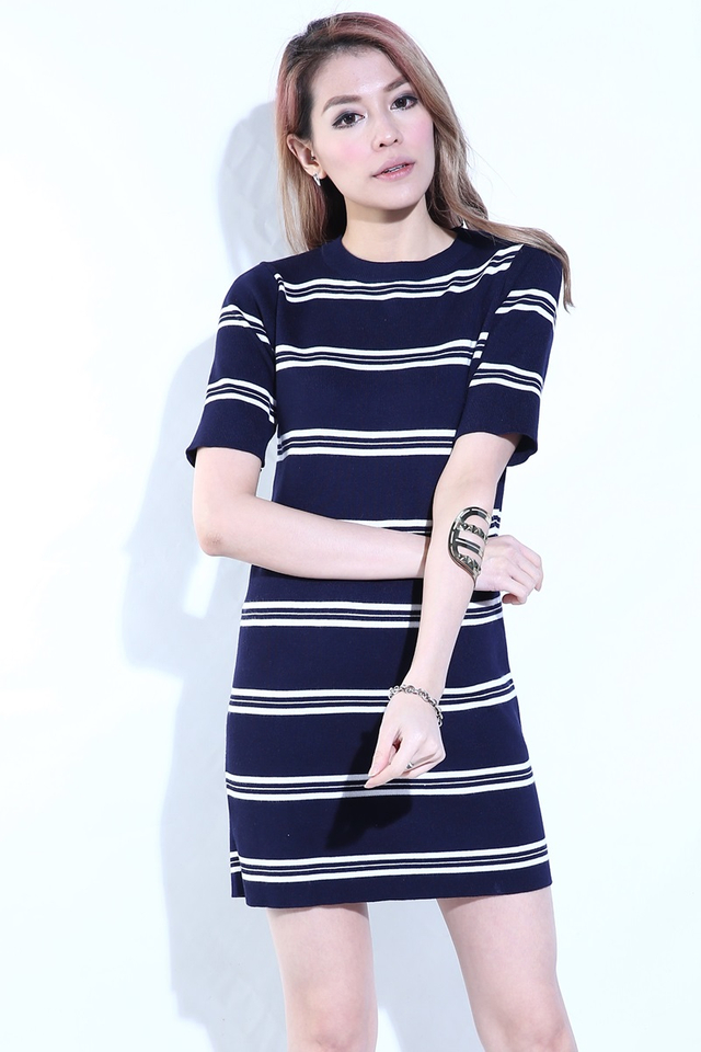 IN STOCK - RENA STRIPES KNIT DRESS IN NAVY