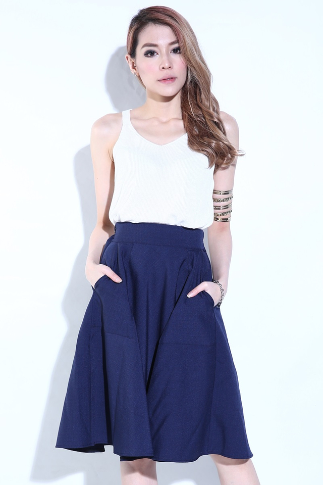 (BACKORDER) Zion Skater Skirt with pockets in Navy