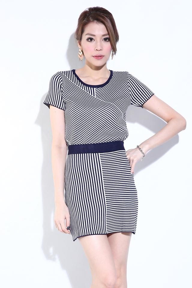 BACKORDER - Maddi Stripes Knit Set in Navy