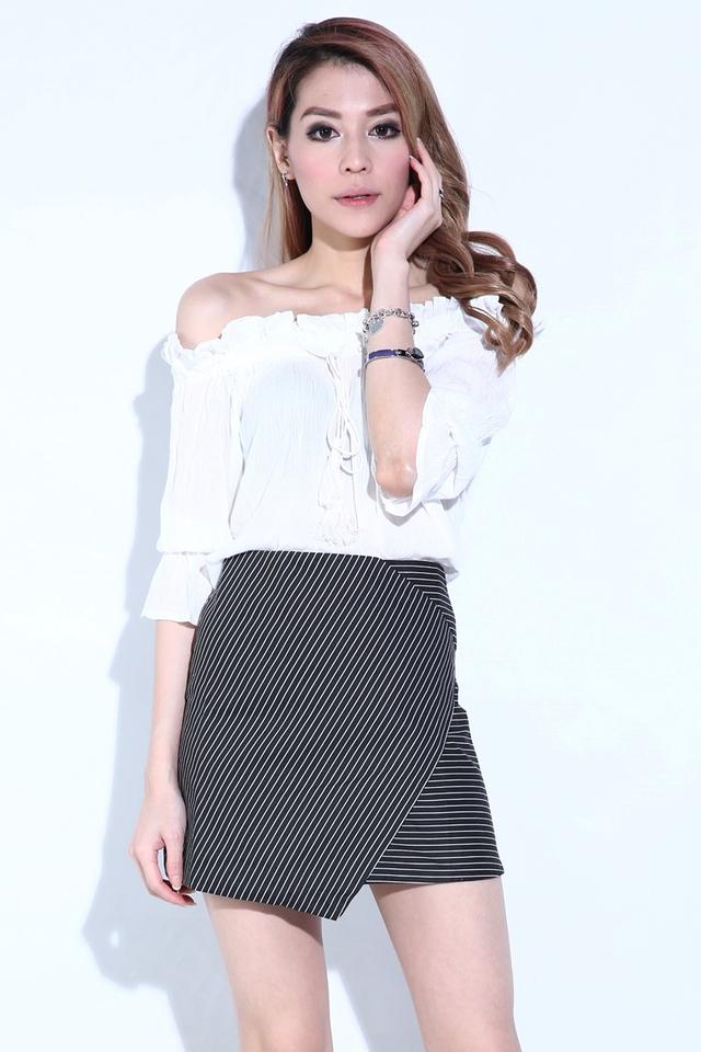 (BACKORDER)Bweery Stripes Skirt in Black