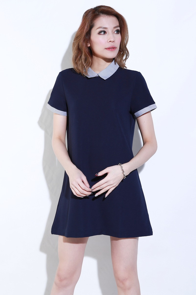 BACKORDER- CLAUD COLLAR DRESS IN NAVY