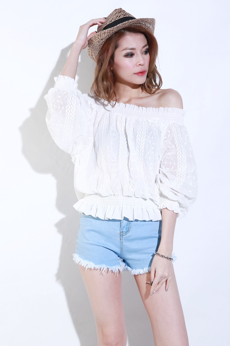 8960022d3c4 (BACKORDER) Puffy Off Shoulder Top in White | KYLA