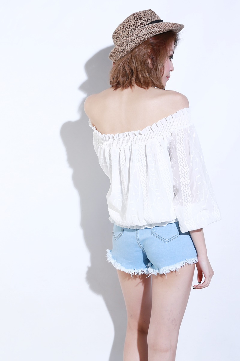 8d21709e5a7 BACKORDER) Puffy Off Shoulder Top in White | KYLA