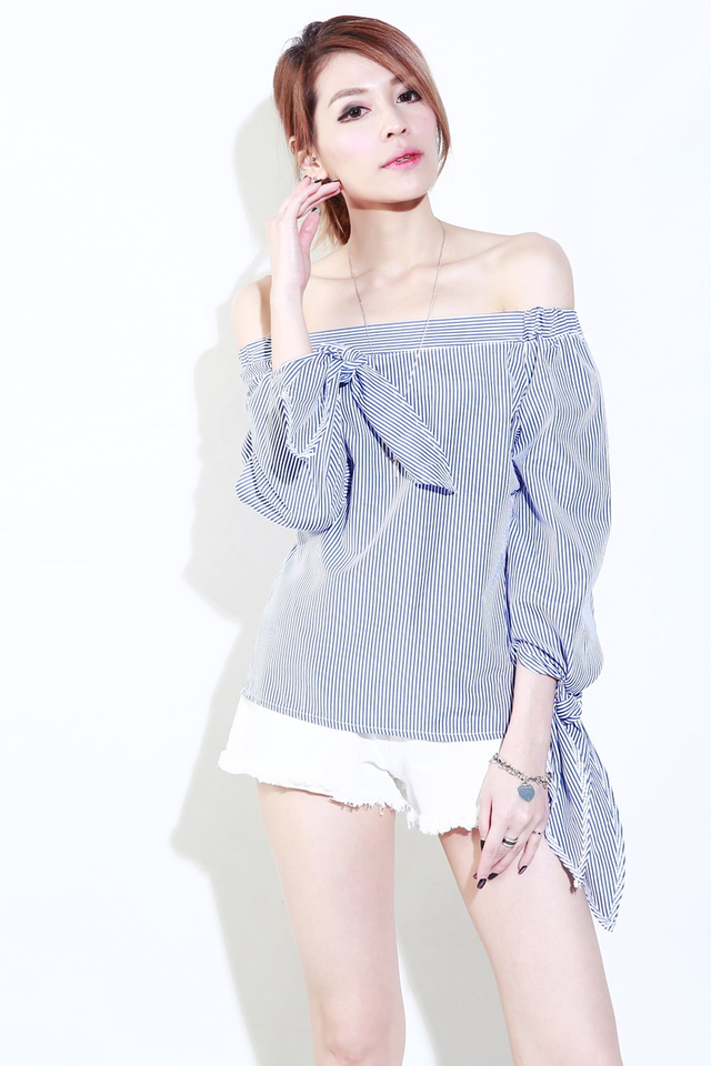 (BACKORDER)Rishna Off Shoulder Stripes Top in  light Blue