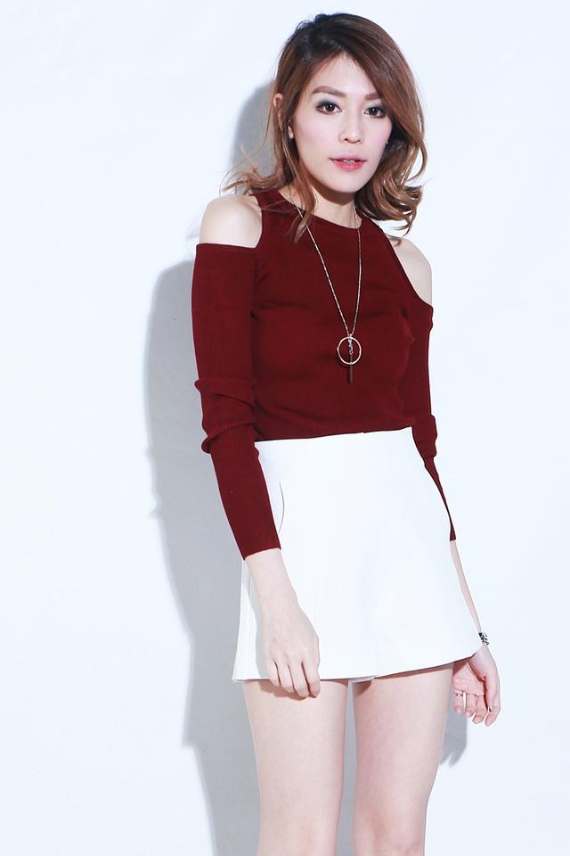 BACKORDER -Bevia Cut Out Shoulder Knit Top in Maroon (Long Sleeve)