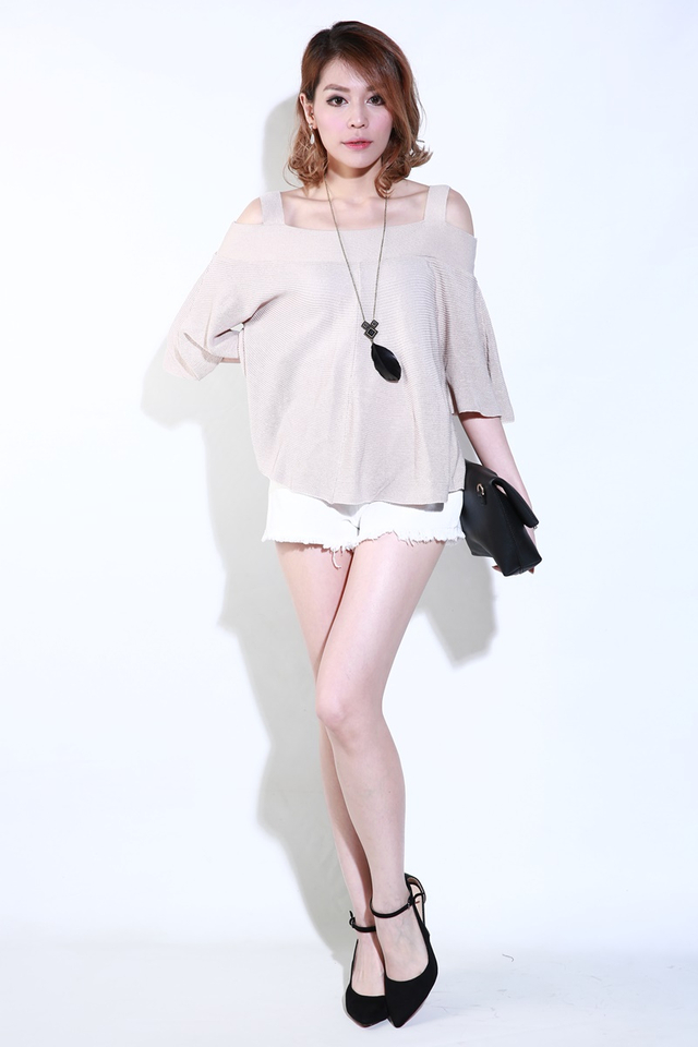 IN STOCK  - KASSIE KNIT TOP IN LIGHT BROWN
