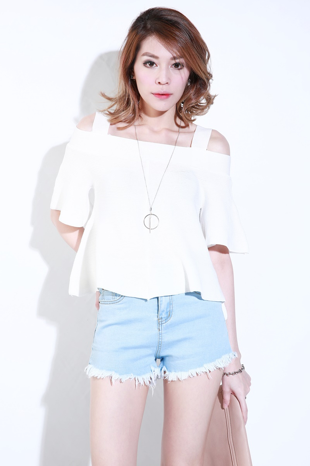 IN STOCK  - KASSIE KNIT TOP IN WHITE