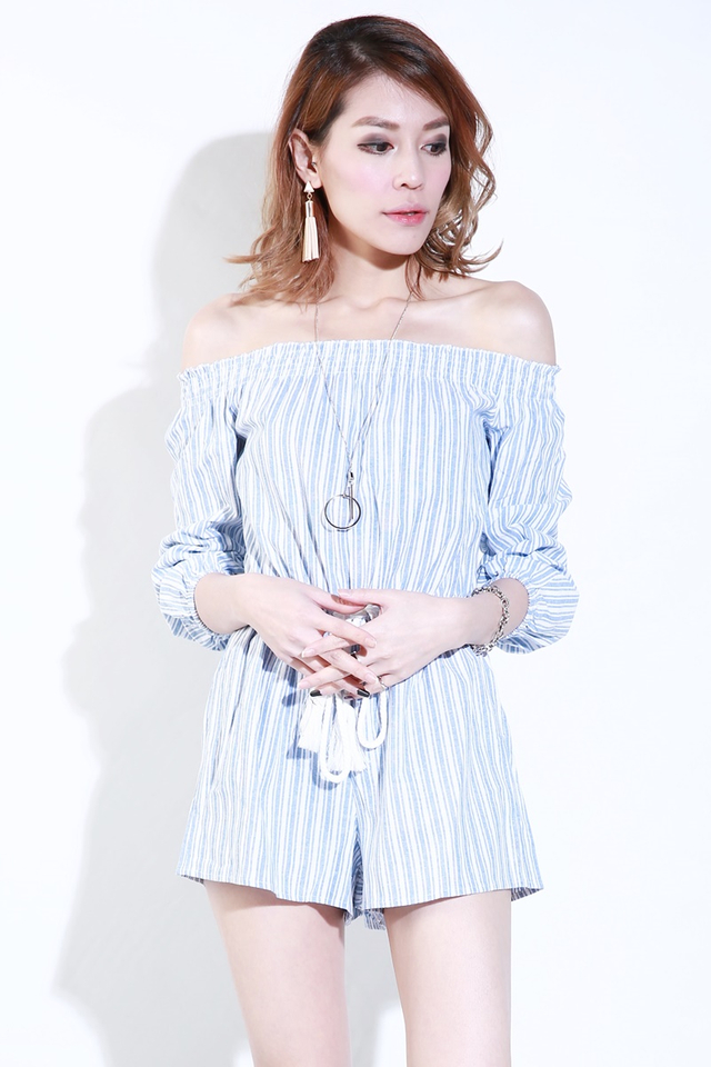 BACKORDER-CRUZ STRIPES ROMPER IN BLUE