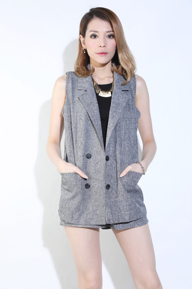BACKORDER - JOVA VEST ANDBOTTOM SET IN GREY