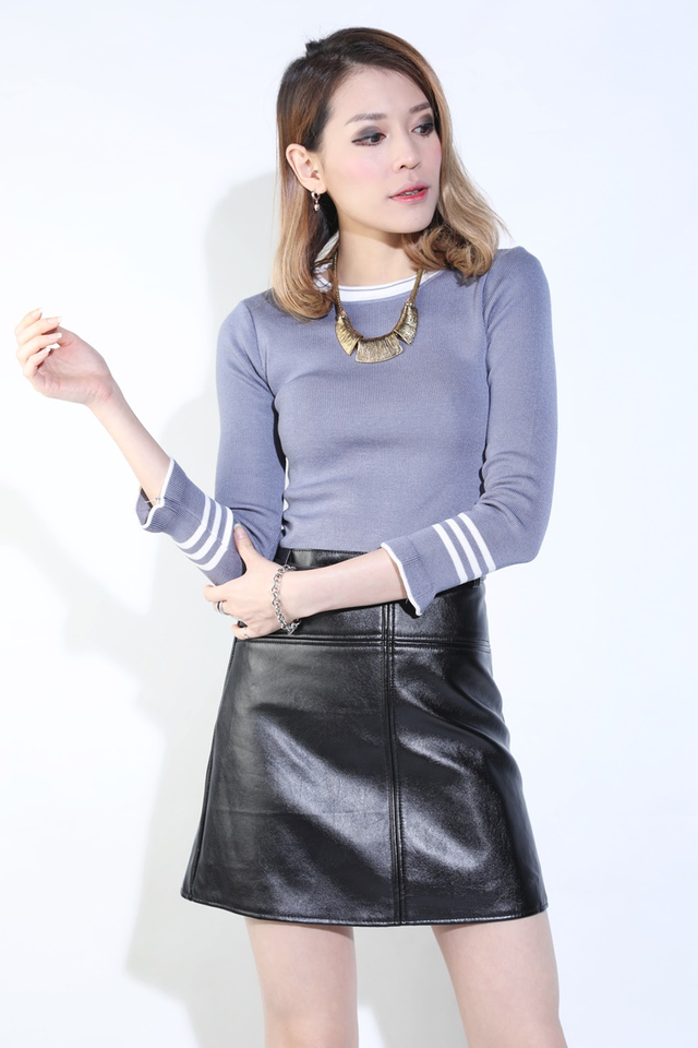(BACKORDER) Paula Faux Leather Skirt in Black
