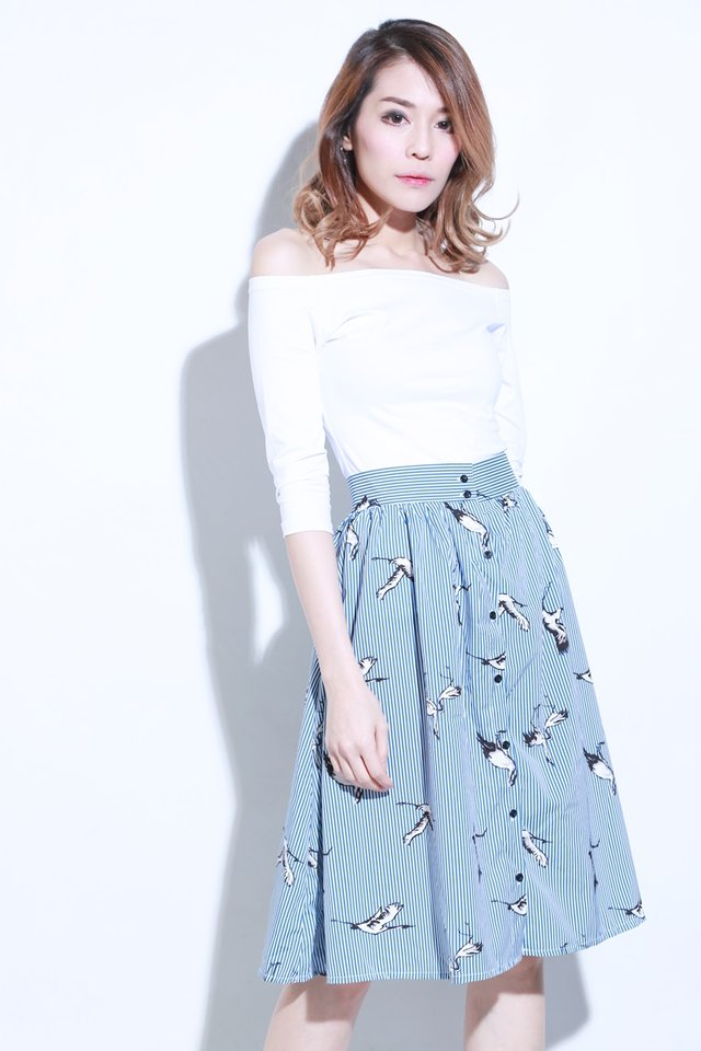 (BACKORDE) Pier Printed Skirt in Blue