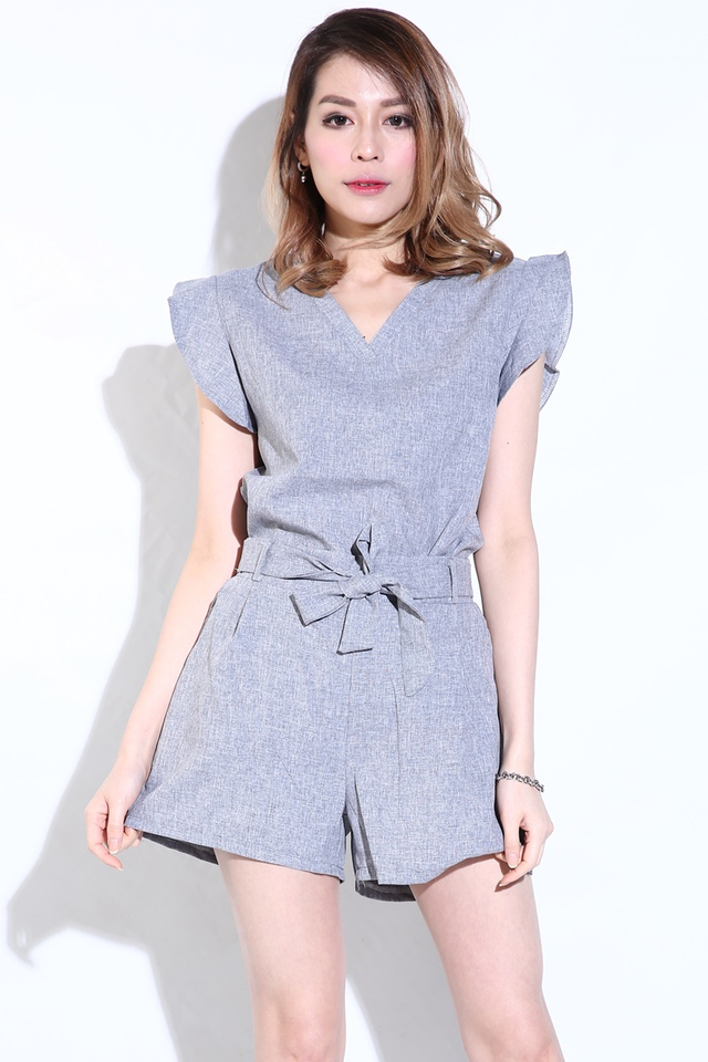 BACKORDER - Ruffles Sleeve 2Pieces Set Top and Bottom in Grey