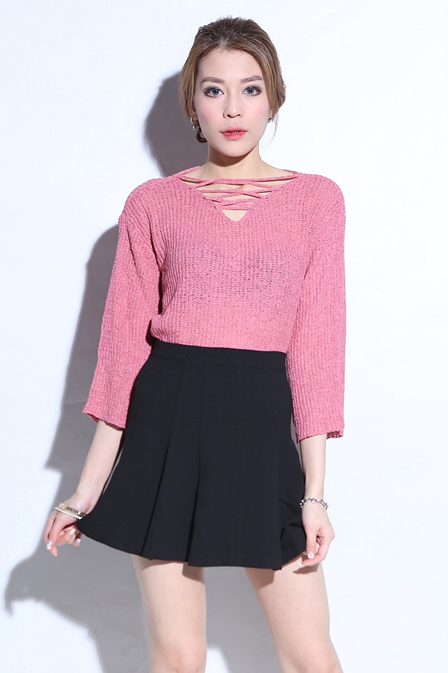BACKORDER - Sigrid Shoelace Top in Pink