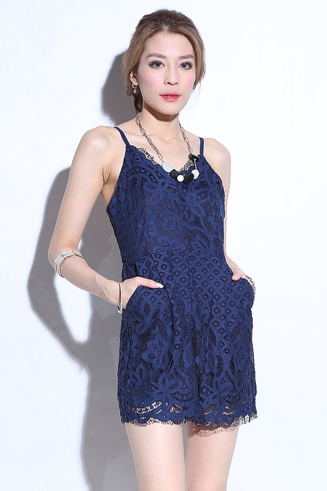(BACKORDER) Madden Lace Romper in Blue (With Black Lining )