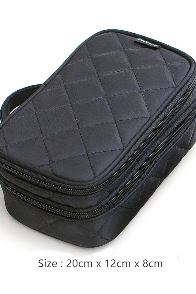 (BACKORDER) Two tier Make Up Pouch in Black