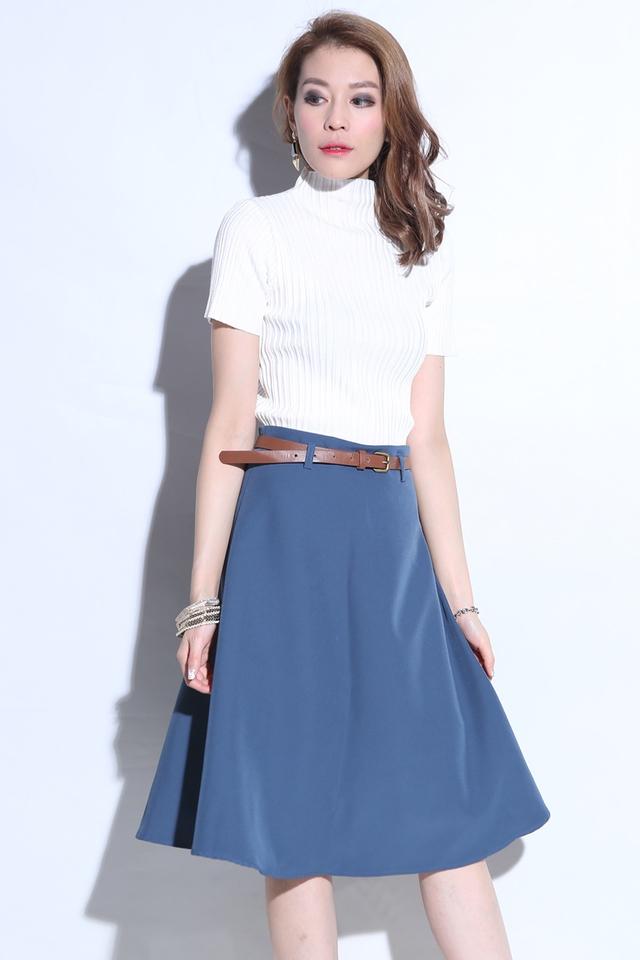 BACKORDER - Midi Skirt With Belt in Blue