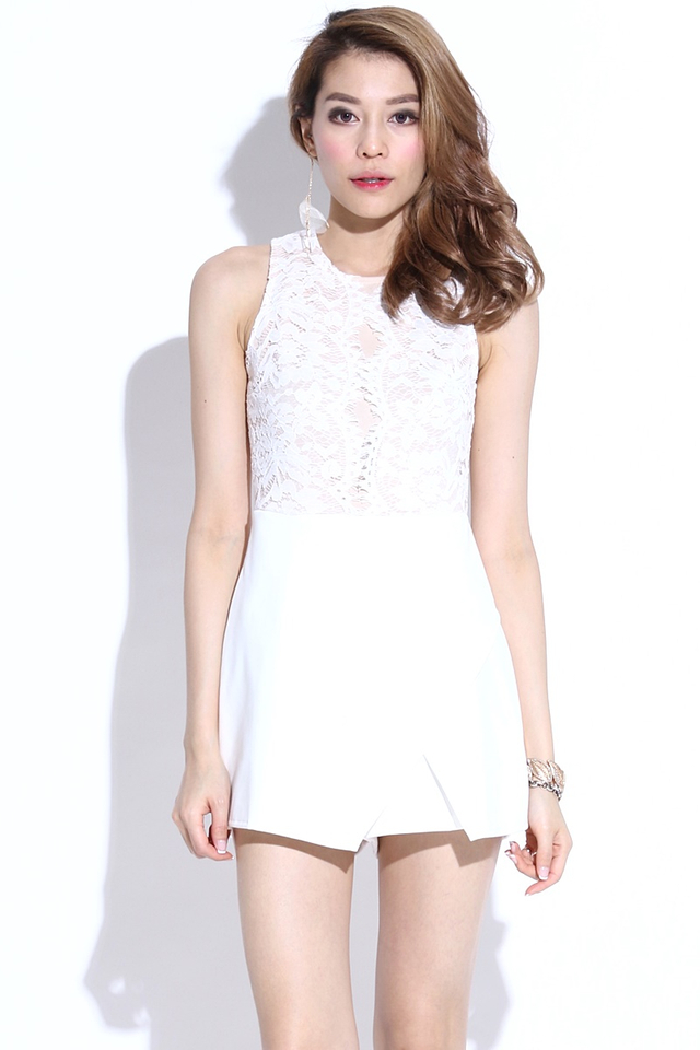 BACKORDER- Helea Lace Romper in White