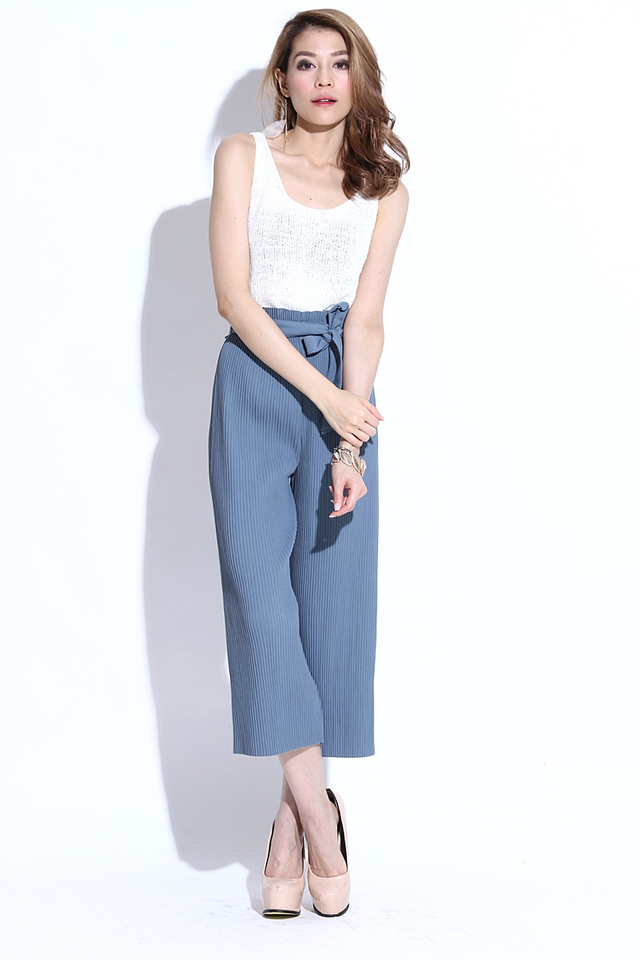 BACKORDER -Reece Pleated Belted Pants in Greyish Blue