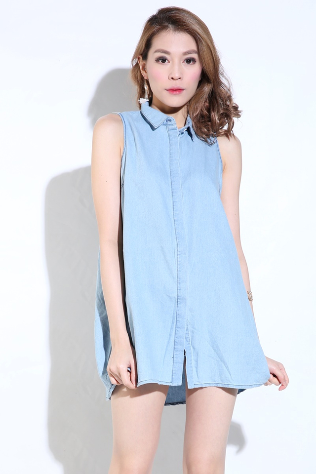 BACKORDER- Henny Denim Dress in Blue