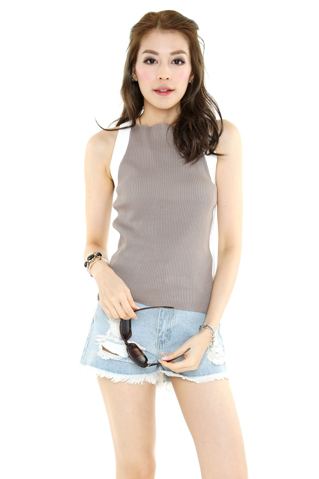 IN STOCK- OPALE KNIT TOP IN BROWN