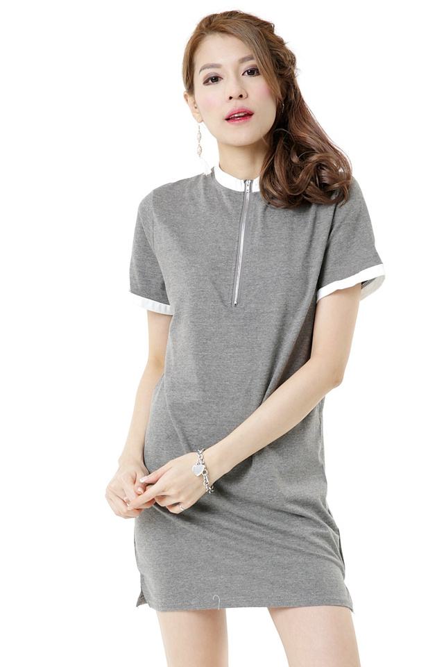BACKORDER-  Yulissa Shift Dress in Grey