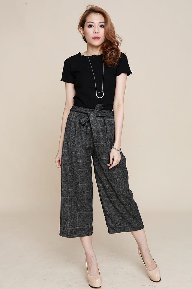 BACKORDER - GLORY BELTED PANTS IN DARK GREY