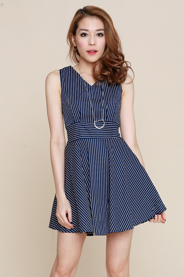 BACKORDER-  Alberette Stripes Dress in Navy