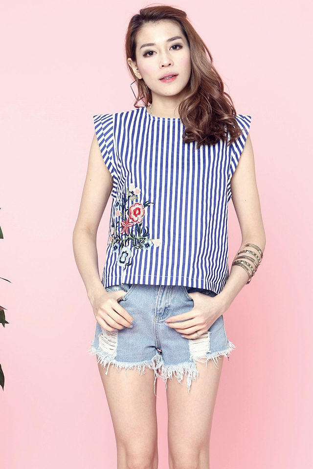 SG IN STOCK - DEYA STRIPES TOP IN BLUE