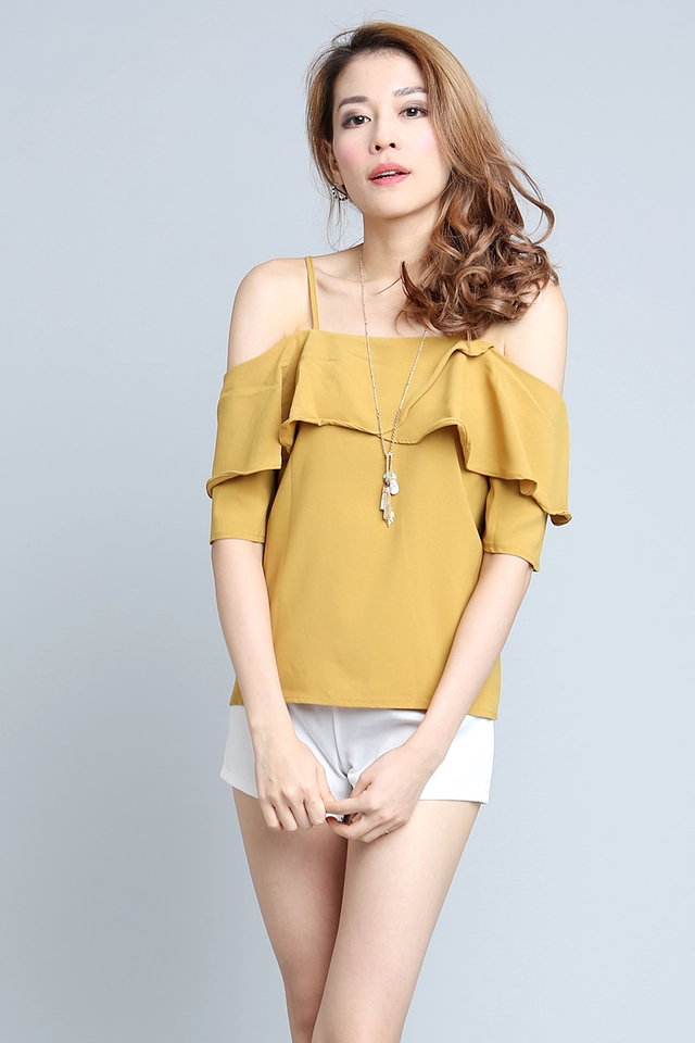 (BACKORDER) Gino Spag Top in Mustard Yellow