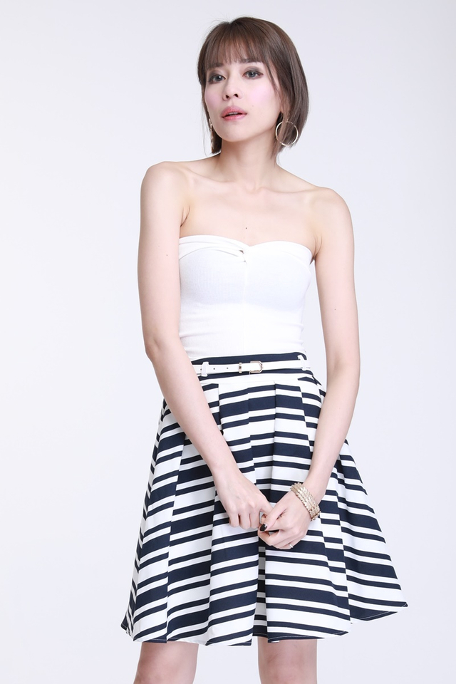 IN STOCK - Enrique Stripes Skirt With Belt