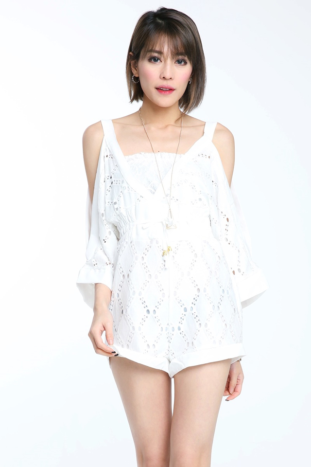 BACKORDER - Liya Crochet Romper in White