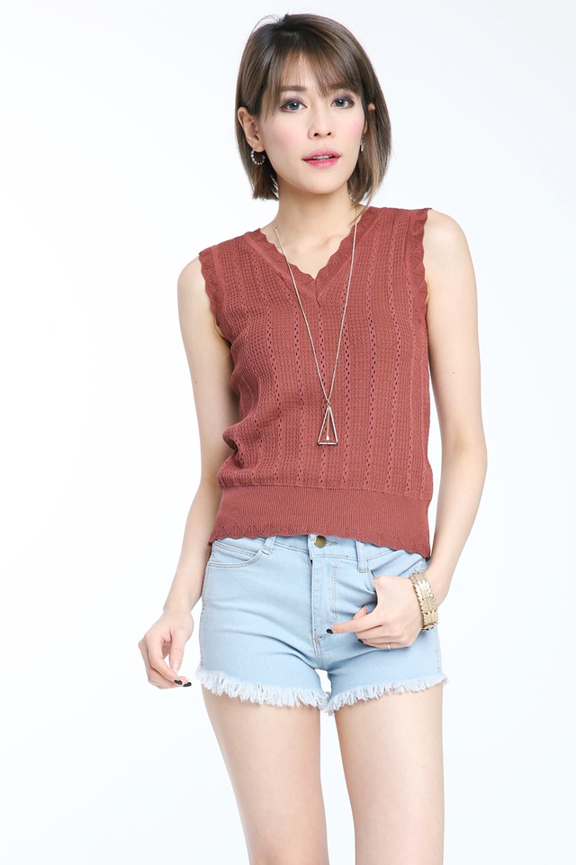 SG IN STOCK-KYE KNIT TOP IN BROWN
