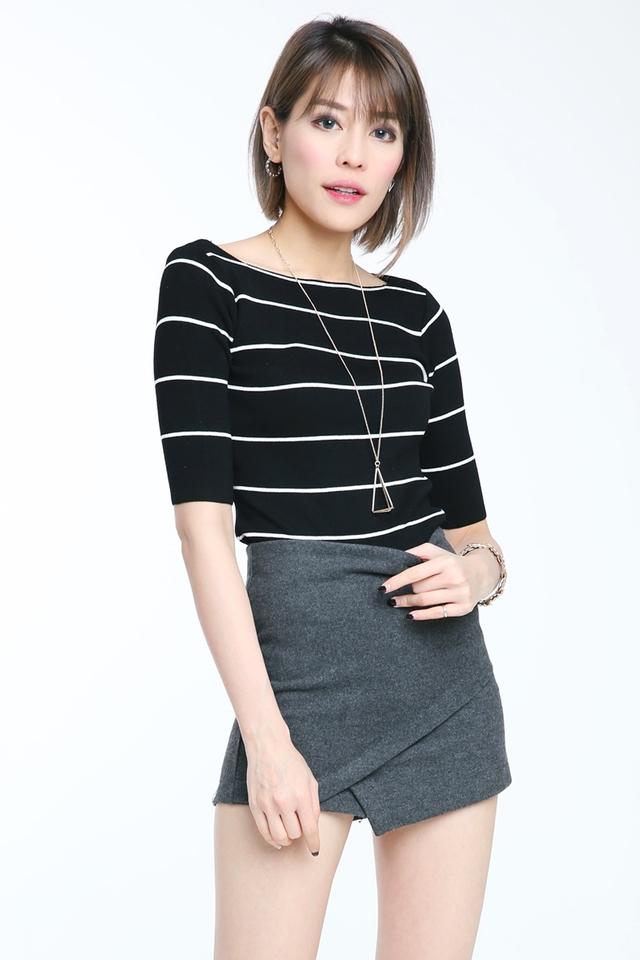 SG IN STOCK- Maxine Stripe Knit Top in Black