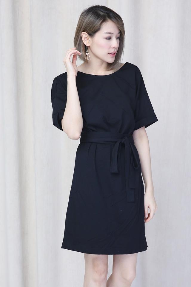 IN STOCK-  REYMA BELTED DRESS IN BLACK