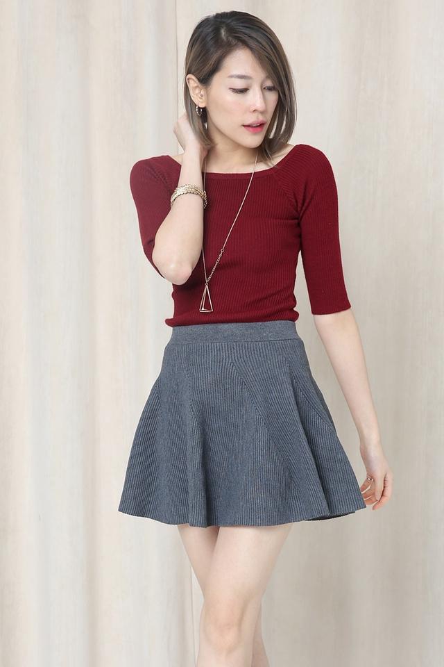 BACKORDER - Livia Knit Skirt in Grey
