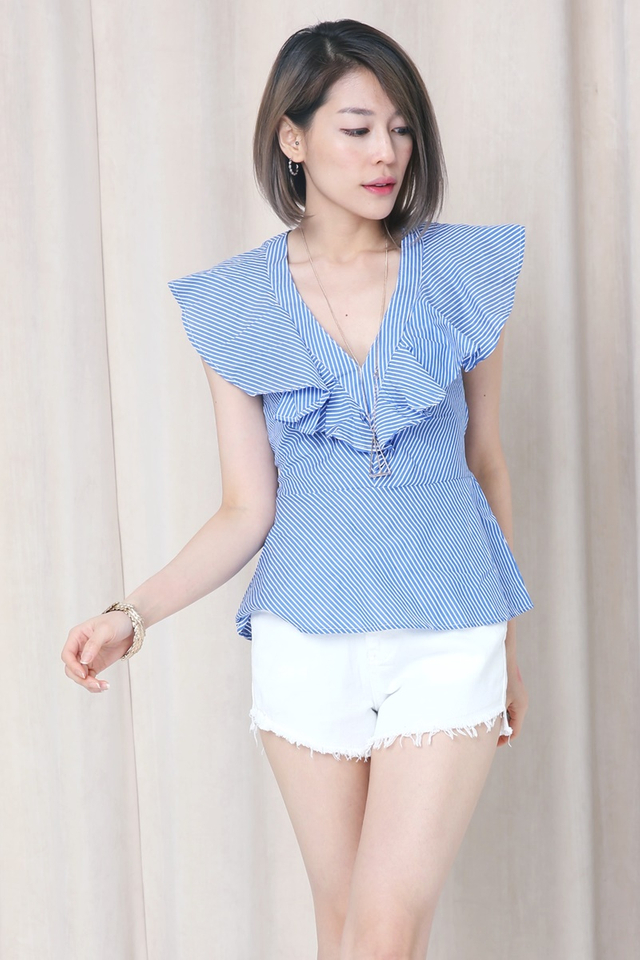 BACKORDER- JAXON RUFFLES STRIPES TOP IN BLUE