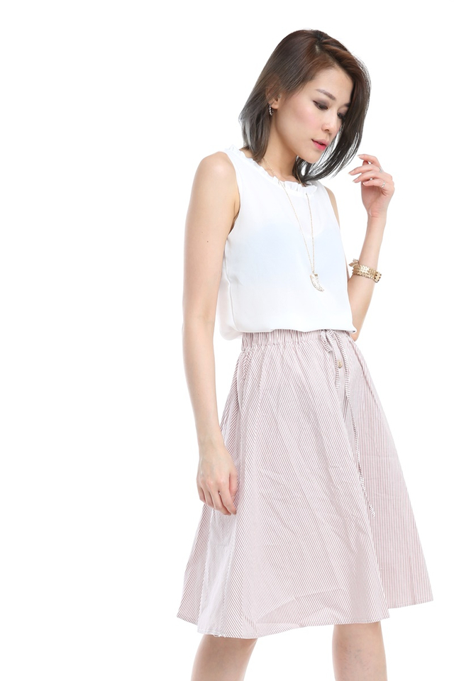 BACKORDER - Grady Stripes Skirt in Pink