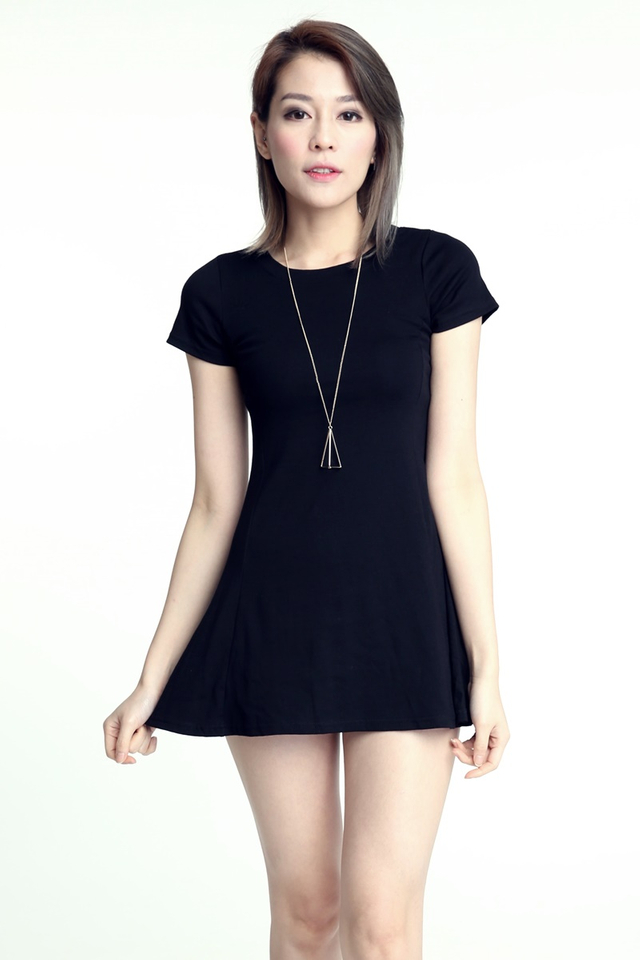 BACKORDER - BASIC MINI DRESS IN BLACK
